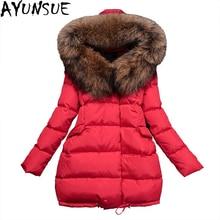 Для женщин зимняя куртка натуральный мех енота меховой воротник с капюшоном Парка на пуху 90% утолщаются Свободный плащ Белое пуховое пальто st372