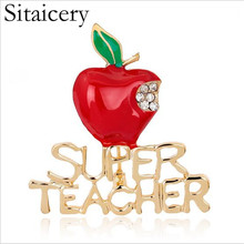 Sitaicery Rhinestone Brooch Cute Red Apple And Super Teacher Enamel Pin Badge Coat Accessories Christmas For Women Kids