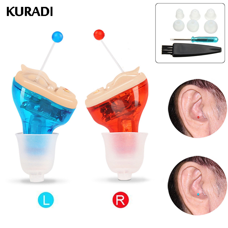 Battery Adjustable Mini Ultra Small Invisible Sound Amplifier Hearing Aid In Ear Sound Loss Enhancement for