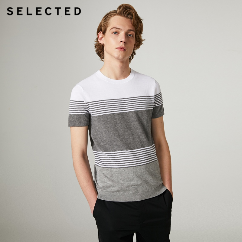 SELECTED Men's Summer Cotton Striped Business-casual Short-sleeved Knitted T-shirt S|419201656