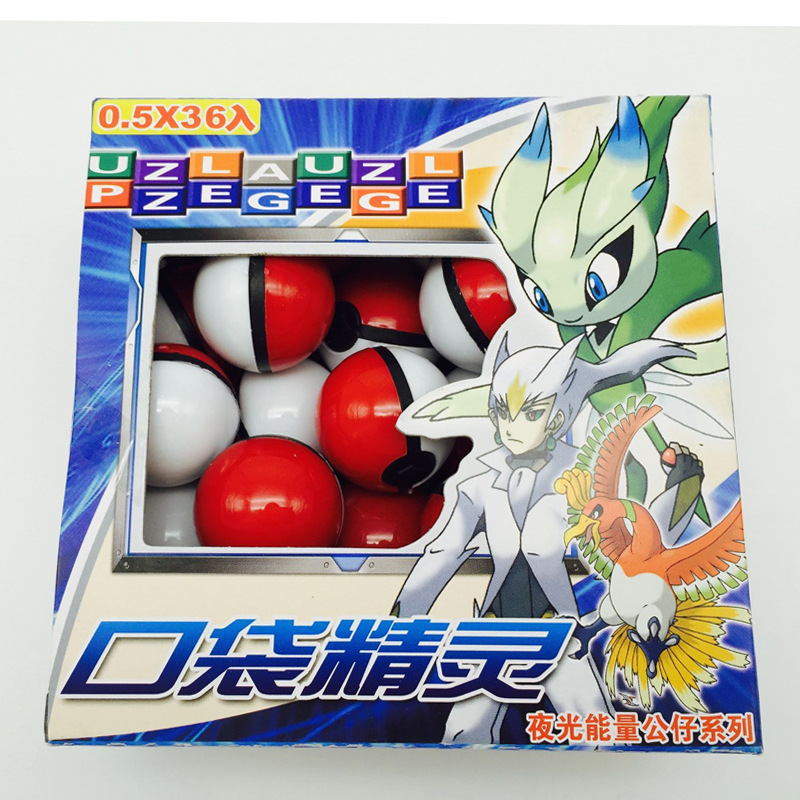 36pcs/set 3cm pokeball send dolls and card directly  2 colors can be selected Pokemon go doll toys pokemon in Action fijure