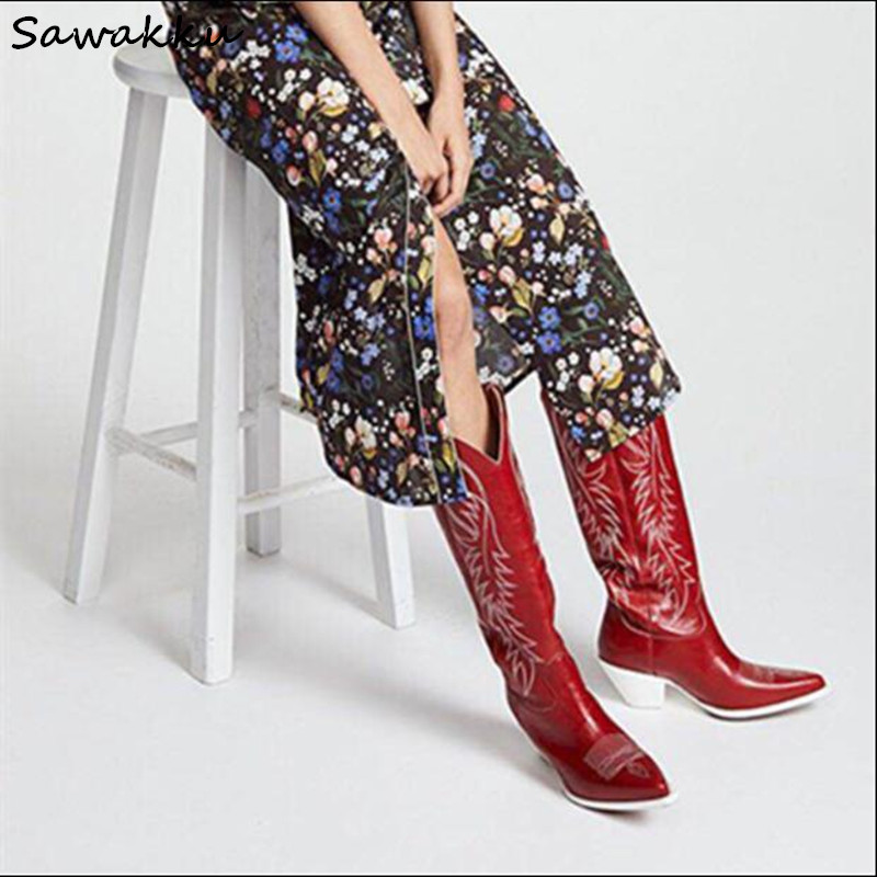 Новый дизайн, стиль Кендалл, женские сапоги до колена, осенне-зимняя обувь из натуральной кожи без шнуровки для подиума, обувь с вышивкой на ...
