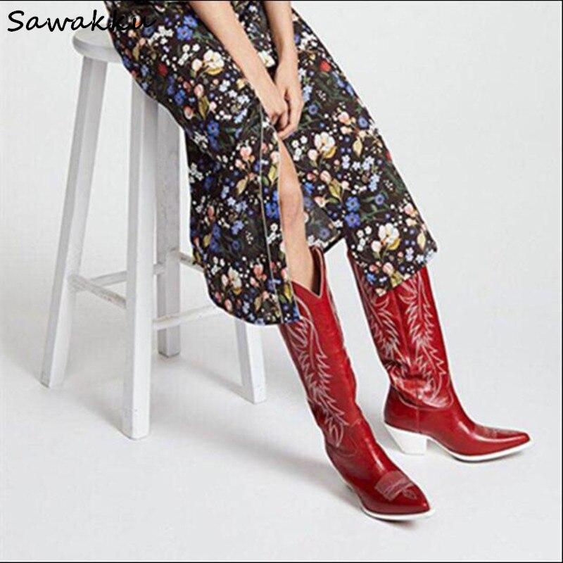 Nouveau Design Kendall Style Femmes Genou Haute Bottes Automne Hiver Véritable Slip En Cuir Sur Piste Chaussures Broder Chunky Talons hauts