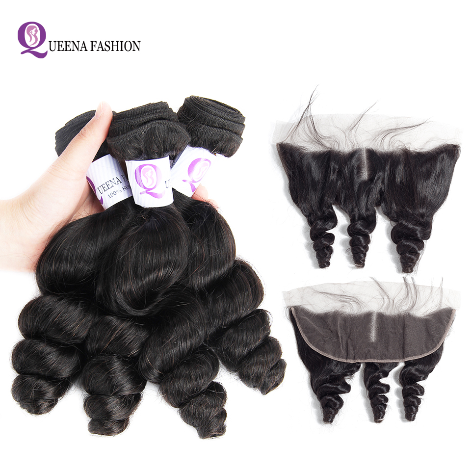 Goodliness Malaysian Hair Loose Wave Bundles With Frontal Natural Color Remy Human Hair Weave 3Bundles With Lace Frontal Closure