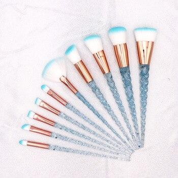 10pcs Blue Purple Unicorn Makeup Brushes Set Powder Eyeshadow Foundation Lip Brush Crystal Diamond Make up brush Kits maquiagem 1