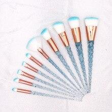 HOT 10pcs Blue Unicorn Makeup Brushes Set Powder Foundation Brush Kits Crystal Diamond Make up brush Kits maquiagem Tools