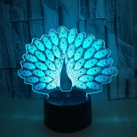 3D Peacock Light Colorful Touchpad Remote Control LED Thanksgiving Lights Orange Purple Color Changing Light Home Decor Thailand