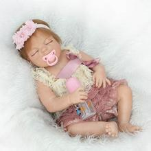 22″ Realistic Baby Reborn Full Body ANATOMICALLY CORRECT Soft Vinyl Girl Doll in Luxury Baby Dress of Christmas Gifts for Girls