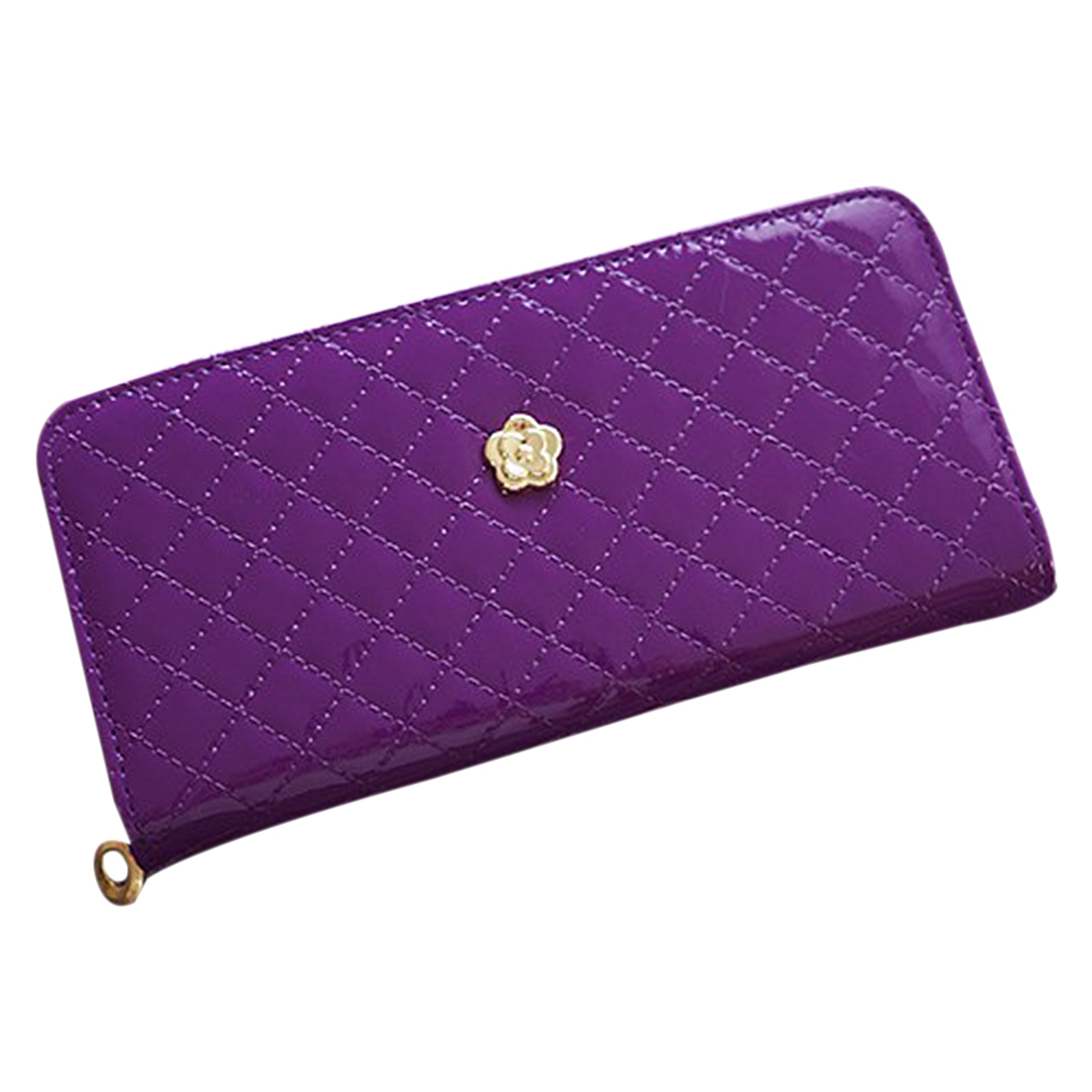 febdf056c36e women quilted long wallet purse women Wallets With Coin Bag Plum flower clutch  bag