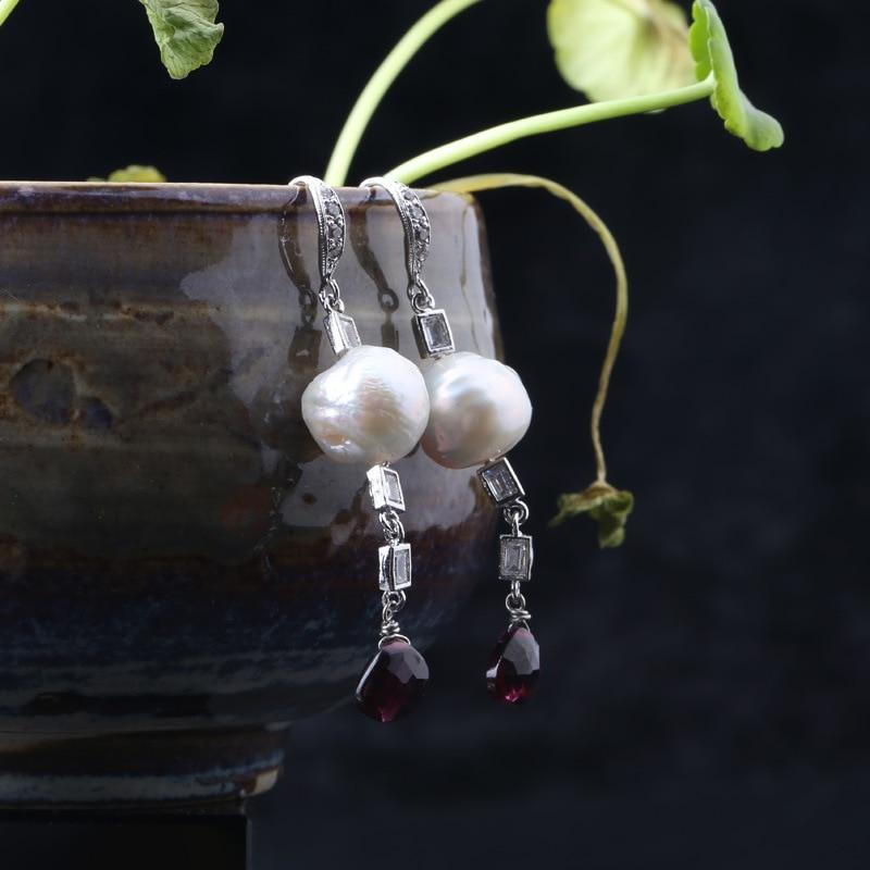 925 boucles d'oreilles en argent Sterling avec perles d'eau douce naturelles