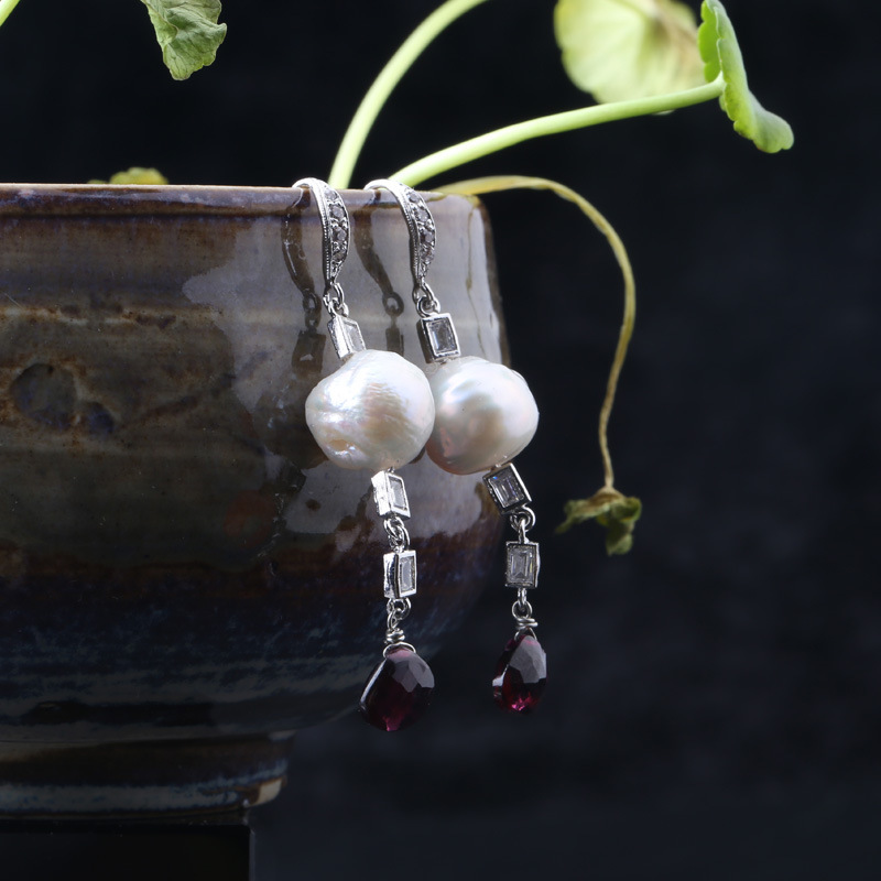 925 Sterling Silver natural freshwater pearls long tassels crystal ear hook earrings ravensburger ravensburger пазл венеция 1000 шт