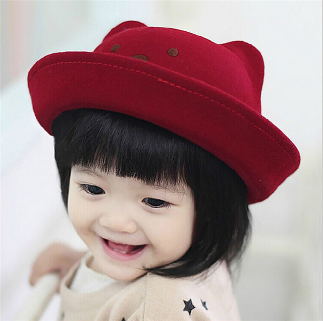 New Fashion Baby Bowler 100% Wool Fedora Hats Bear Style Girl Cap Round  Dome Cap Top Hat Children Felt Hat Christmas Gift A00196 d26bb9eab66f