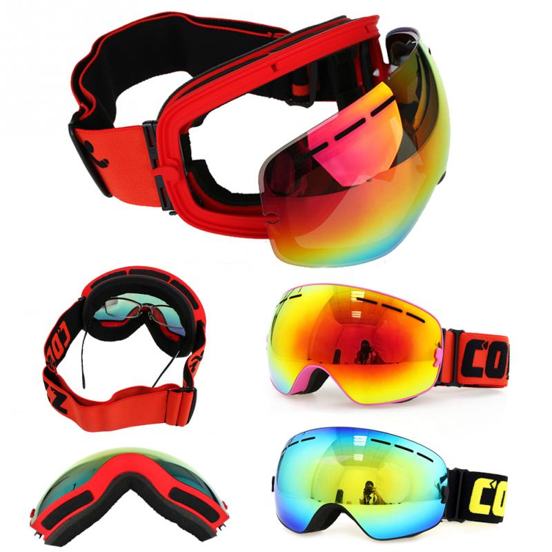 Prix pour Marque Nouveau Ski Lunettes Double UV400 Anti-brouillard Grand Masque de Ski Lunettes de Ski Hommes Femmes Neige Snowboard Lunettes