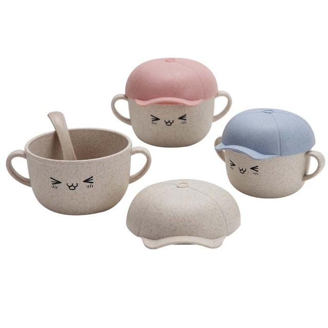 400ml Baby bowl+spoon Feeding Food Tableware Cartoon Panda Kids Dishes Baby Eating Dinnerware Set Anti-hot Training Bowl Spoon