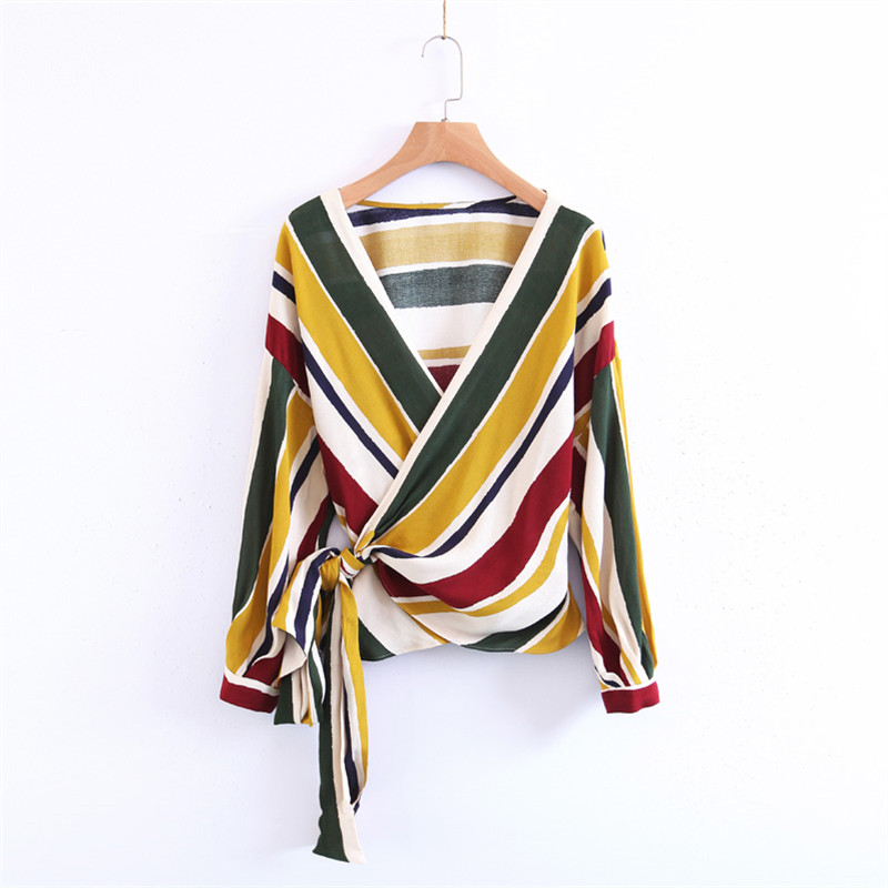Sexy V Neck Striped Loose Blouse Women 2017 Summer Fashion Long Sleeve With Belt Blouses