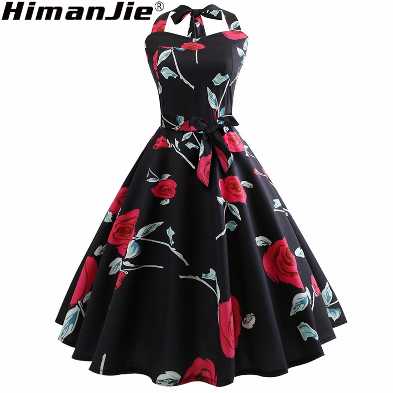 halter High Waist Elegant Red Rose Flower Floral Print Dress Retro Plus  Size Polyester Summer Casual Print Black Skater Dress