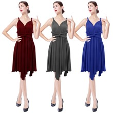 Fashion Women Multi Way Dress for Party and Wedding Elegant High Waist Pleated Irregular Convertible Bridesmaid