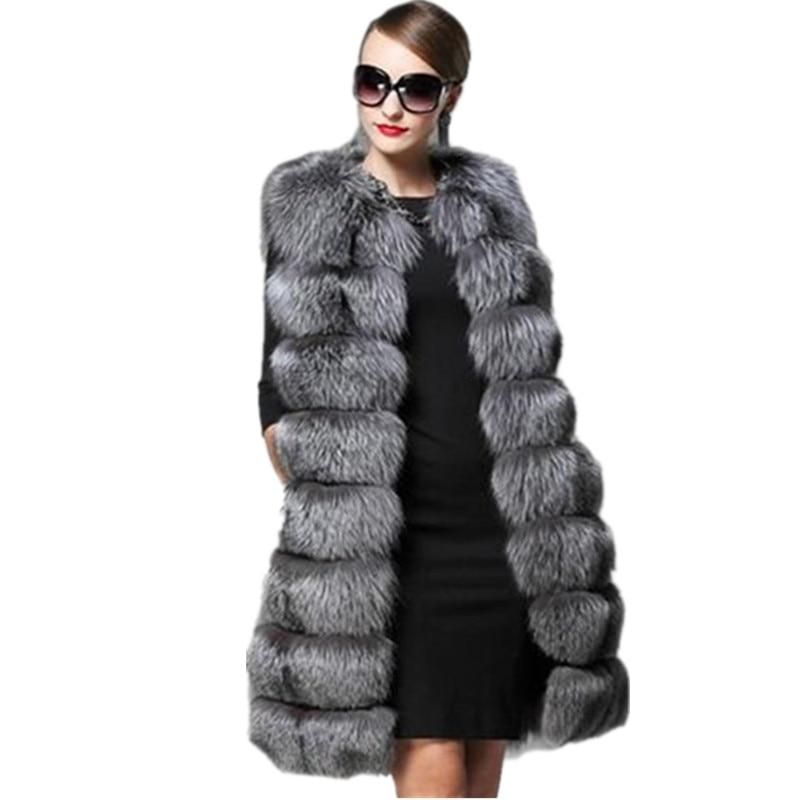 innovative design 3e69a dfda9 US $45.52 49% di SCONTO|Clobee Gilet Femminile 2018 Faux pelliccia di Volpe  Cappotto Donne Inverno Panciotto snellisce Super Lungo Finta Pelliccia ...