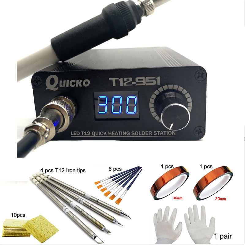 QUICKO T12 LED Digital Soldering Iron Electronic Welding Iron 2018 New Version T12-951 108W