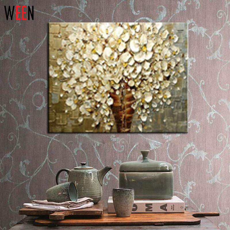 Hand Painted White Flower Thick Colors Palette Knife Modern Home Decor  Living Room Hall Wall