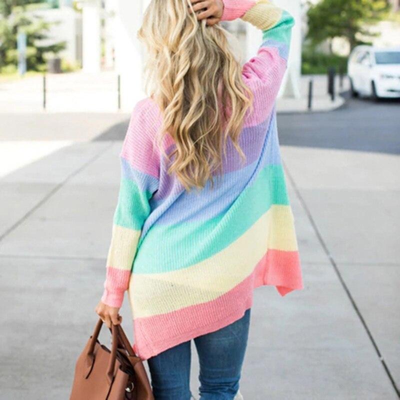 ZADORIN Rianbow Striped Cardigan Women Sweater Long Sleeve Open Stitch Knitted Cardigan Kawaii Cute Sweater Fashion Casual Coat 1