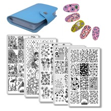 DIY Manicure Plate Flower Geometry Series 5Pcs Nail Art Plates+1Pc 20 Slots Large Rectangular Stamping Template Holder