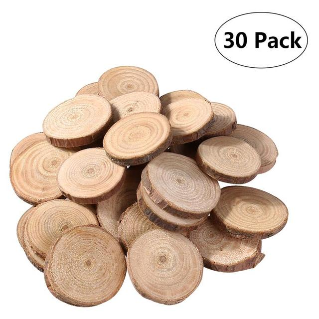 30pcs 3 4cm Unfinished Natural Round Wood Slices Circles Log Discs For Diy