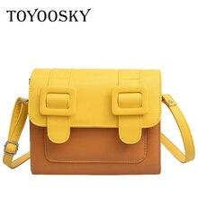 TOYOOSKY Luxury Brand 2019 Summer Designer Women Leather Handbag Panelled Shoulder Bags Female Vintage Flap Messenger Bag