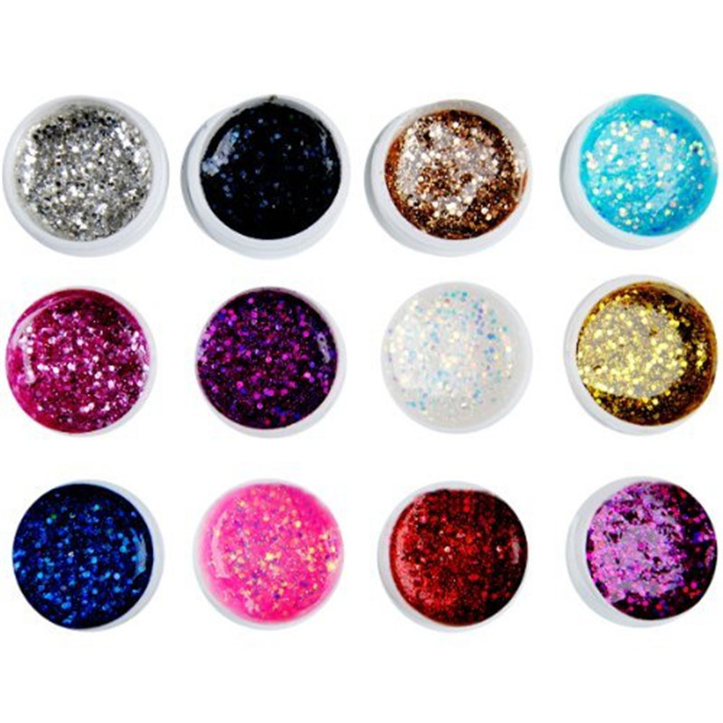 2018 New Acrylic Mix 24 Color 3D Nail Art Painting Drawing UV Gel Polish Kit Glitter Dust Powder DIY Make Up Nails Tool H7JP dn2 39 mix 2 3mm solvent resistant neon diamond shape glitter for nail polish acrylic polish and diy supplies1pack 50g