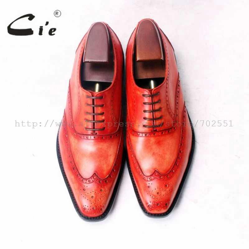 Cieตารางนิ้วเท้าปลายปีกbroguesปักo xfords patina orange 100%หนังลูกวัวแท้bespokeหนังผู้ชายรองเท้าที่ทำด้วยมือผู้ชายox379