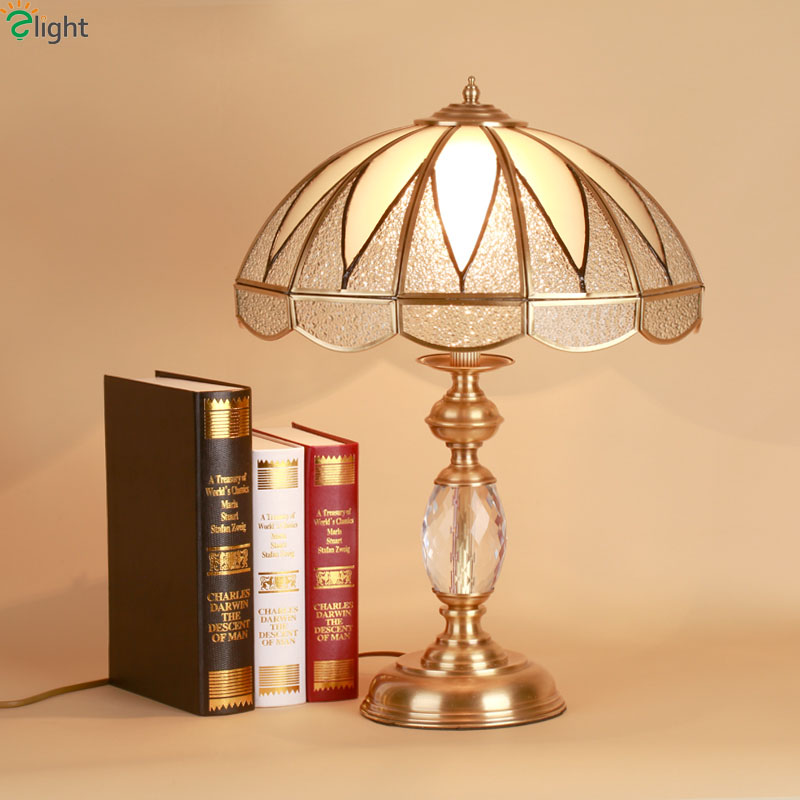 US $233.94 40% OFF|Europe Retro Luxury Copper Led Table Lamp Lustre Crystal  Glass Bedroom Led Table Lights Loft Led Table Lighting Light Fixtures-in ...