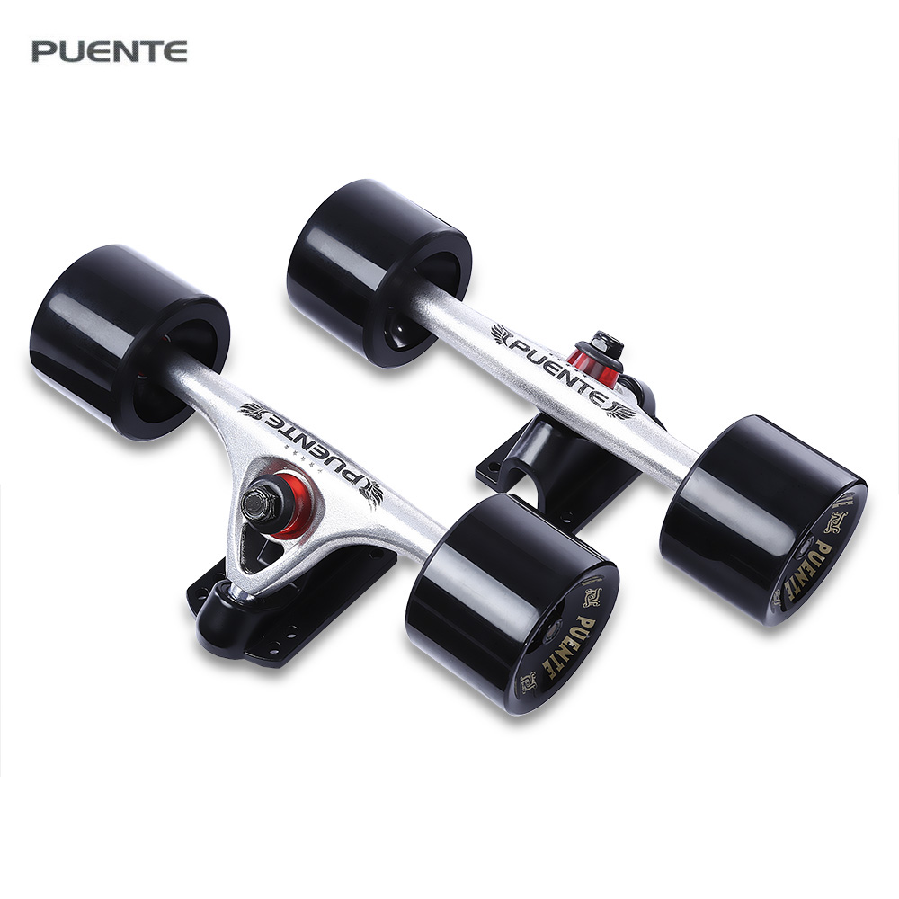 PUENTE 2 x Skateboard Truck +2 x Pad Durable Alloy 7 inch Truck with Wheels for Cruiser Skateboard Longboard Roller Accessories cl 402 transparent led ocean style skateboard with several changeable lights complete skateboard 22 inch cruiser longboard