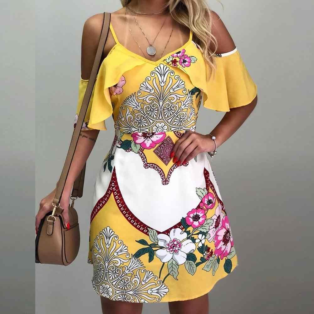 女性夏のセクシーなマキシ Bohe オフショルダー印刷ストラップフレアショートミニフラワープリントドレス
