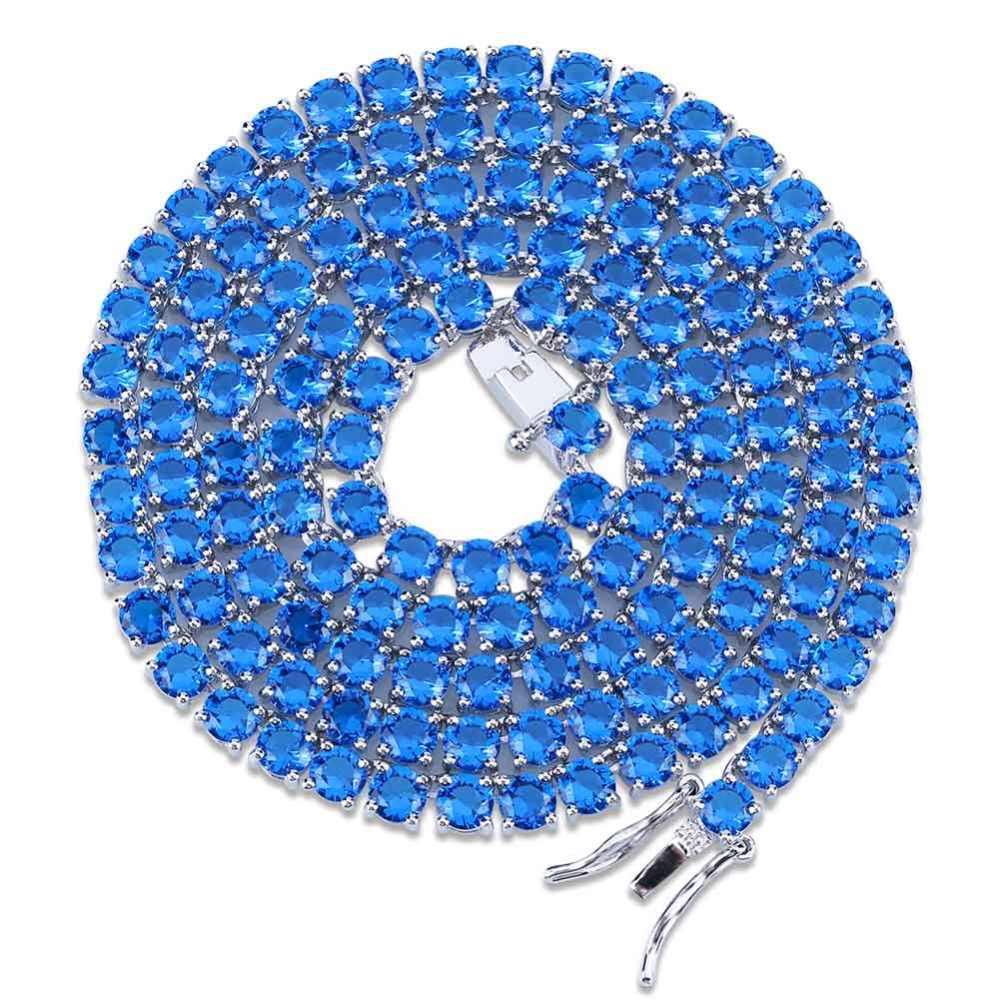 Wysokiej jakości 4mm Iced Out Blud czerwony CZ tenis łańcuch naszyjnik mężczyźni Hiphop/Punk złoto srebro kolor spersonalizowane łańcuchy biżuteria Charms
