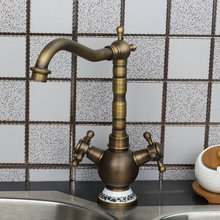 Двойные ручки Кухня кран Ванная комната кран ретро античная латунь поворотный бортике раковина torneira Cozinha краны смесители