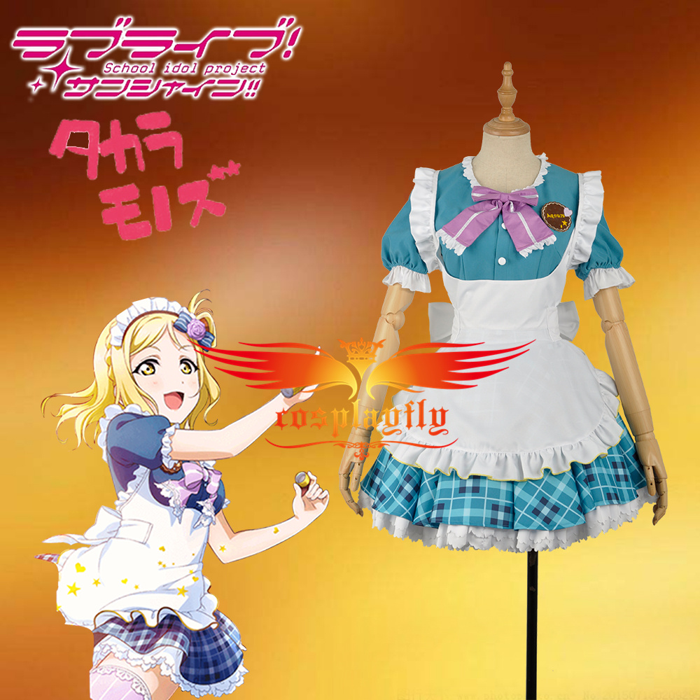 W1157-2 LoveLive!SunShine!!Aqours Mari Ohara Dress Valentine's Day Unawakened Maid Coffee Girls Clothing Cosplay Costume