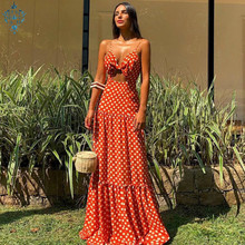 Ameision Plus Size v-neck Sleeveless beach Dress 2019 Women Summer Dot Vintage Sexy Elegant Party Night Maxi Dresses