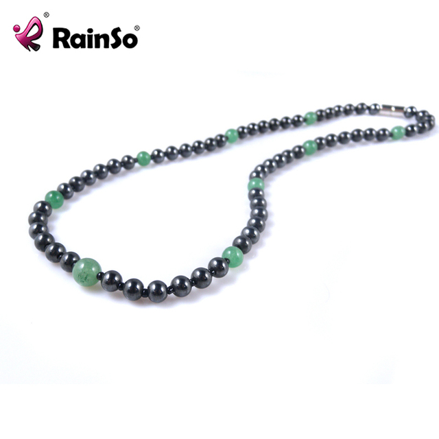 RainSo Green Natural Stone Beads Necklace for Women Magnetic Black Hematite Healthy Jewelry Party Necklace Gift OHN-359