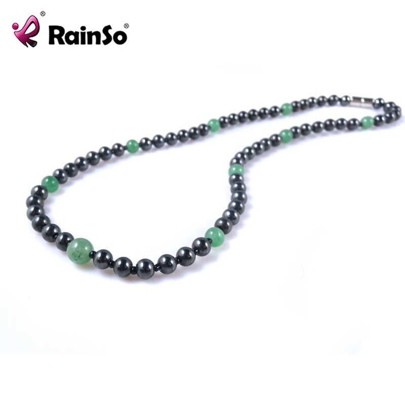 Rainso Groen Natuursteen Kralen Ketting Voor Vrouwen Magnetische Black Hematiet Gezonde Sieraden Party Ketting Gift OHN-359