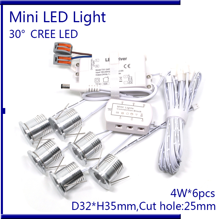 D32xH35mm CREE 4W LED Ceiling Light AC110-240V Recessed Cabinet Spot light Dimmable with Dimmer ,Driver ,Cable ,6 lights/set