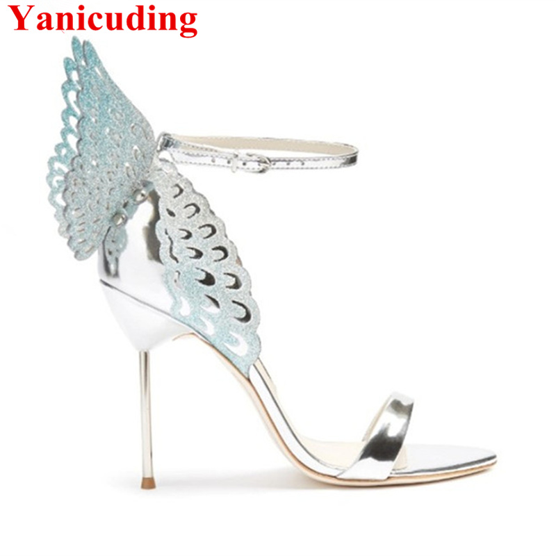 Crystal Butterfly Wing Design Women Pumps Open Toe Sexy High Thin Heels Women Sandals Gladiator Runway Party Wedding Dress Shoes evangeline glitter angel wing sandals sexy laser cut metallic gladiator sandals high heels butterfly wedding shoes woman pumps