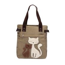 NEW arrival cute cat print Women bag set Canvas bag big capacity handbags high quality designer handbag famale casual totes girl