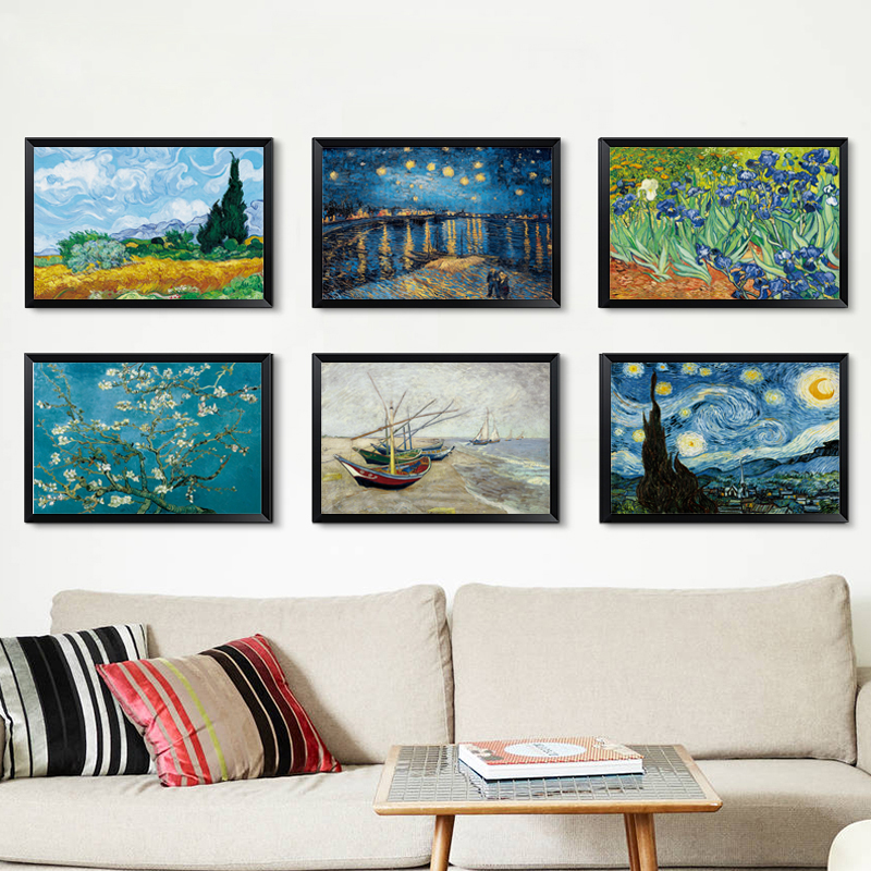 Golden Wheat Field Cypress Blue Sky White Clouds Abstract Landscape Illustration Canvas Art Print Poster Picture Nordic Decorati in Painting Calligraphy from Home Garden