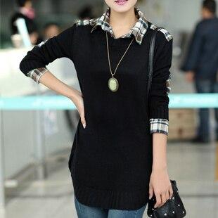 women long Pullover knitwear jumper tops shirt collar font b tartan b font design loose knitted