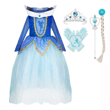 DAYLEBABY Sleeping Beauty Costume Aurora Fancy Dress Inspired Fairy Tale Princess Long Tulle for Girls with Gold Lace