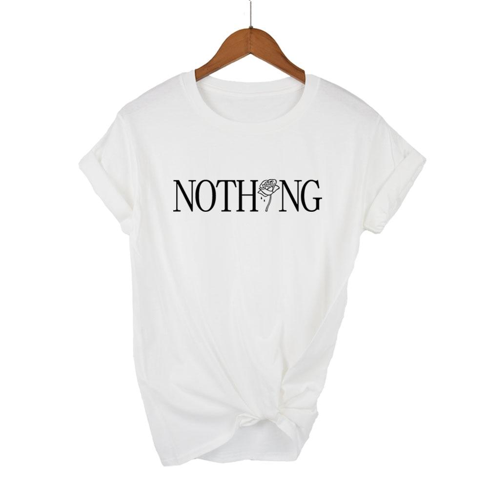 b60206b188b351 Nothing Letter Rose Print Female T Shirt Harajuku T-Shirts Women 2018 Summer  Short Sleeve