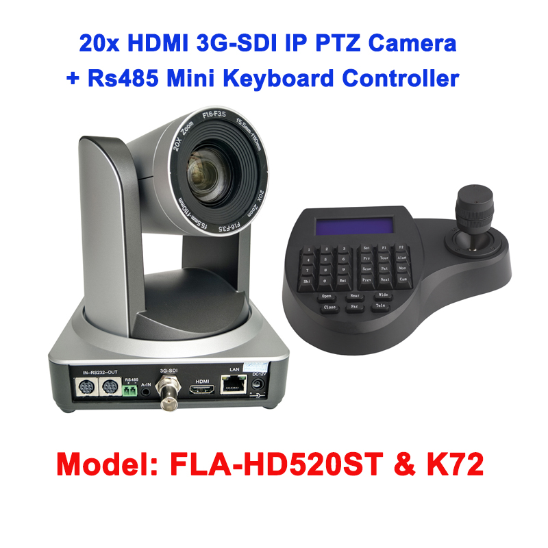 2MP 1080P60fps 20X 3G SDI Broadcast HDMI IP Conference Video Camera Wall Mount 3D Joy Stick