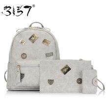 Apliques de moda de cuero de las mujeres mochilas mochila para las niñas compuestas bolsas mochila femenina femenina 3157 femme sac a dos