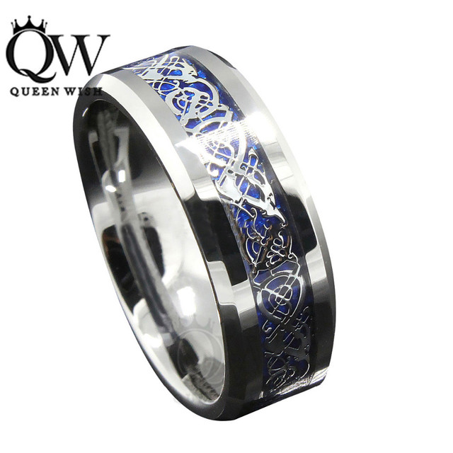 Queenwish 8mm Blue Silvering Celtic Dragon Tungsten Carbide Ring Mens Jewelry Wedding Band Silver Rings Jewelry Eternity Ring