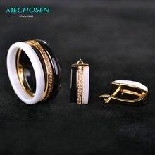 Mechosen Brillant керамические украшения комплекты кольца и серьги циркония три линии белый/черный keramik anillos Brincos фарфор Schmuck